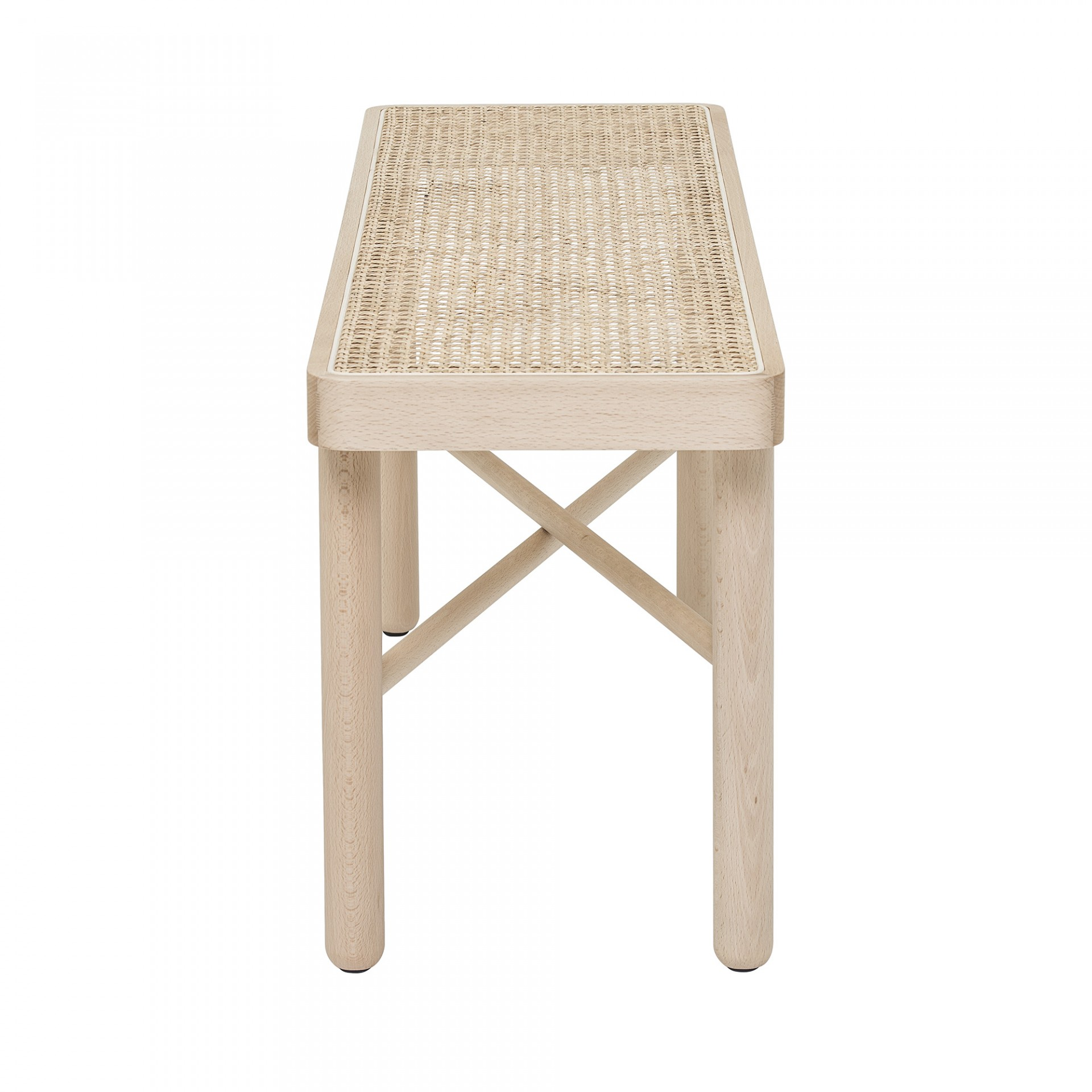 Mesa de apoio Luna, madeira faia/vime natural, 100x30x43