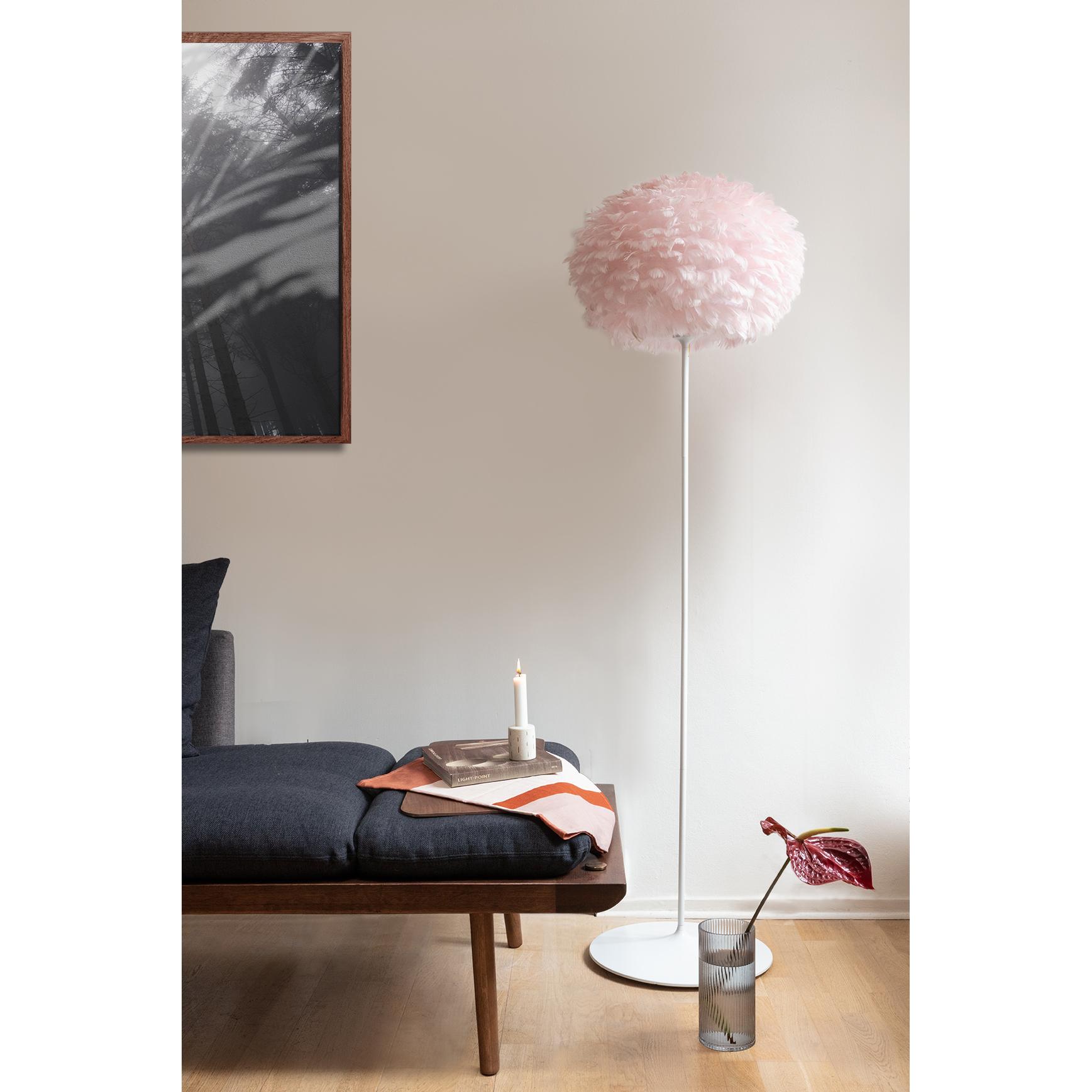 Candeeiro de tecto Eos, penas de ganso, rosa