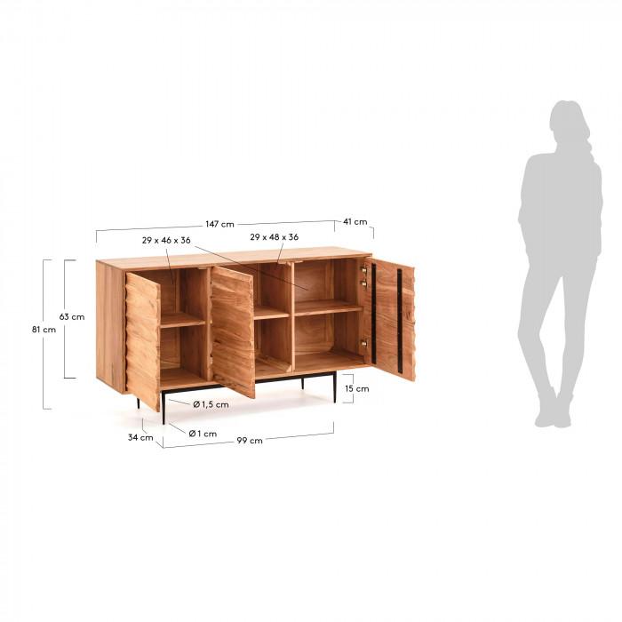 Aparador Delie, madeira de acácia natural, 147x81