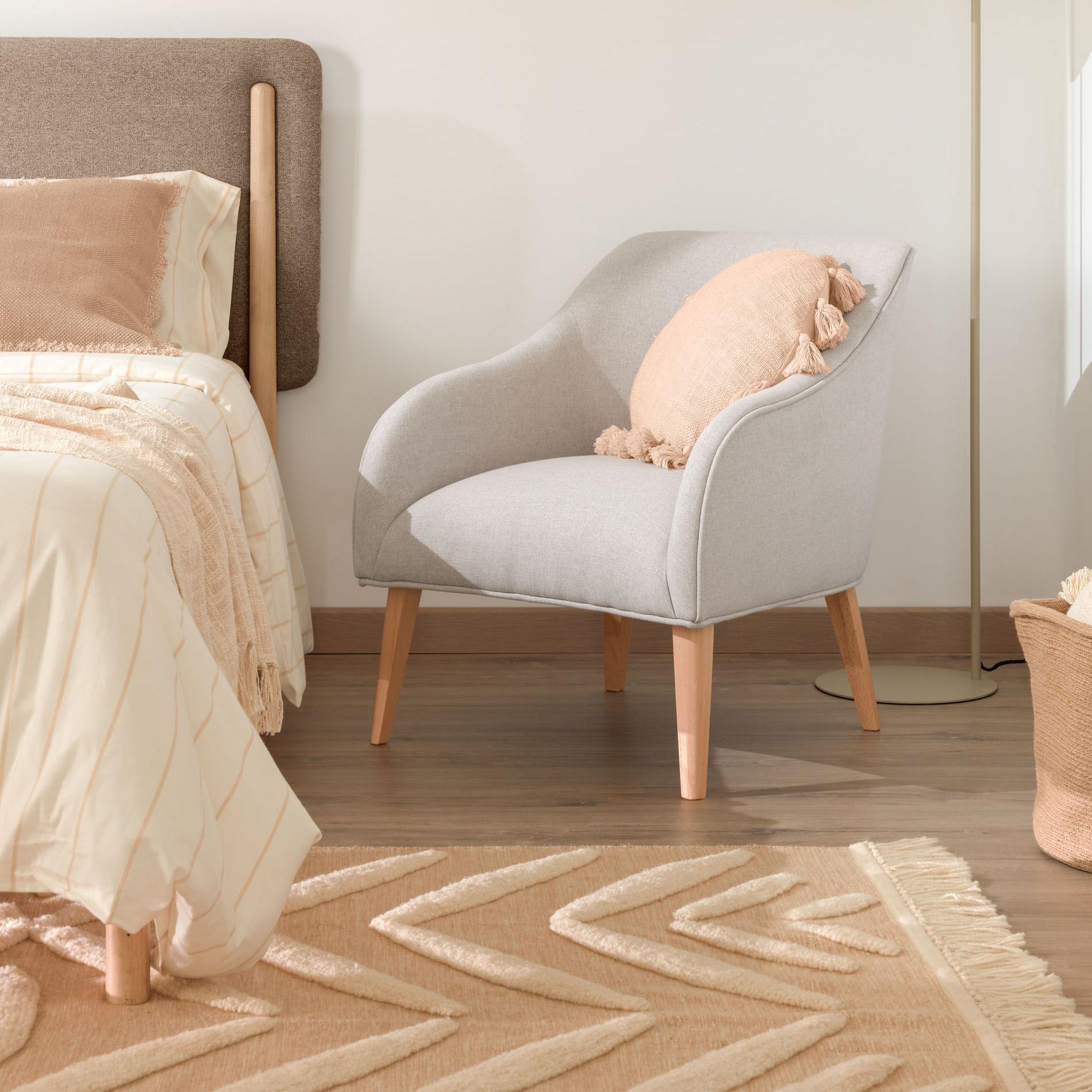 Tapete Delia, lã/algodão, bege, 200x140