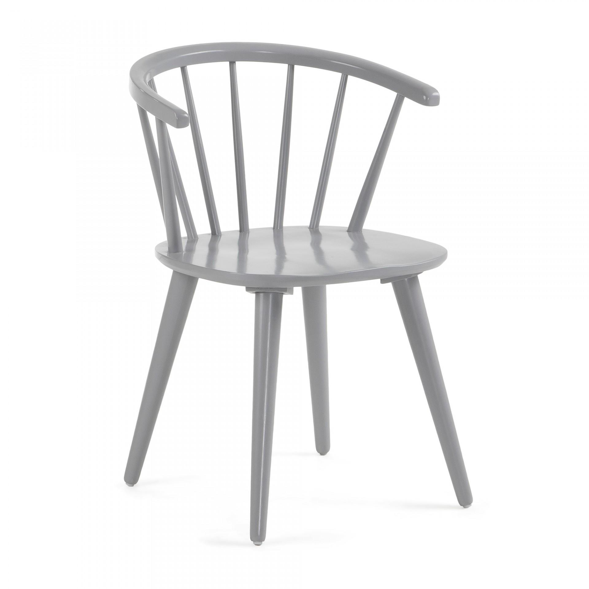 Cadeira Kris, madeira de seringueira, cinza,