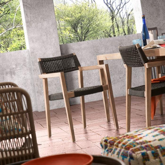 Cadeira Suzy, madeira de acácia/corda poliéster