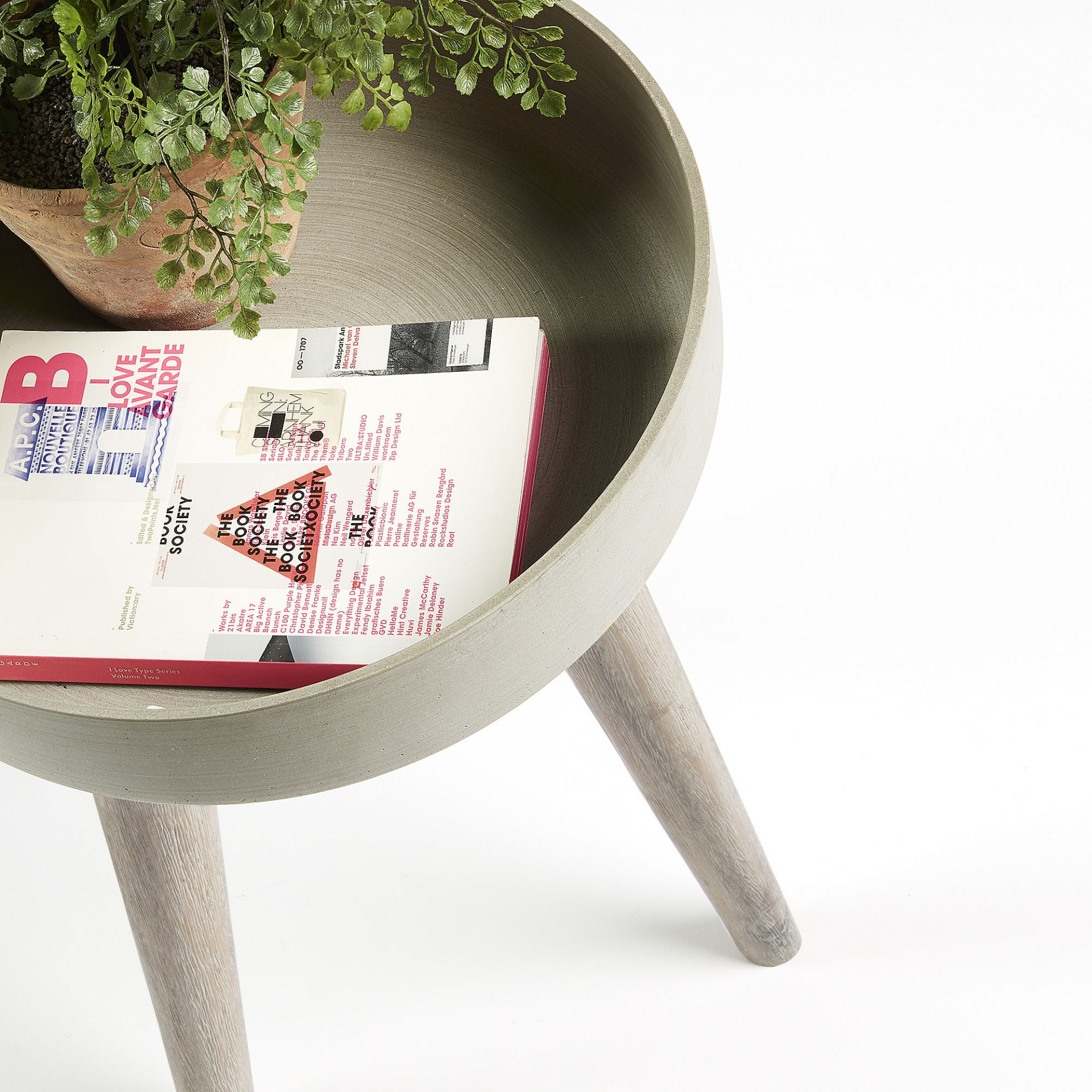 Vaso Meri, poli-cimento/madeira de acácia, bege, Ø37x52