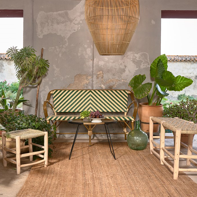 Tamborete Kandi, madeira de eucalipto/folha de palmeira