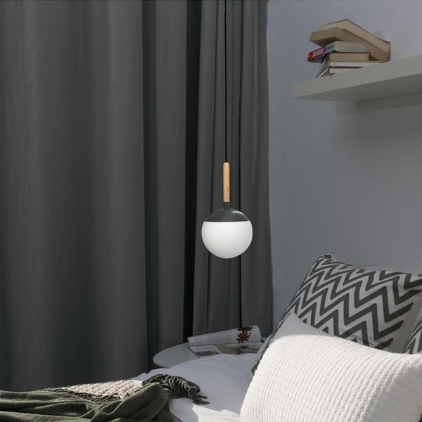 Candeeiro de tecto Minner, madeira/vidro, Ø18,5×35