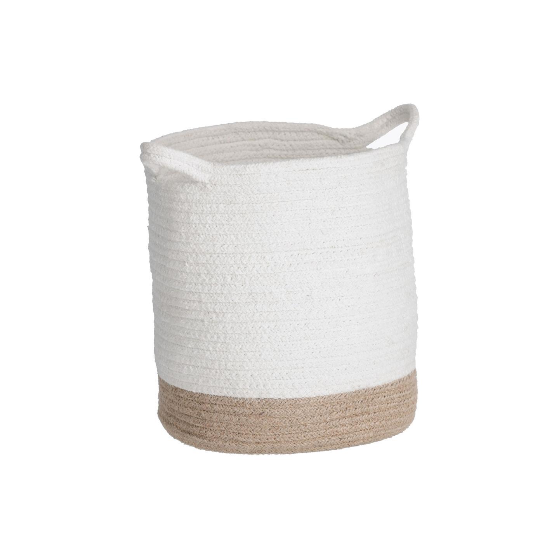 Cesta Telle, juta/algodão, branco