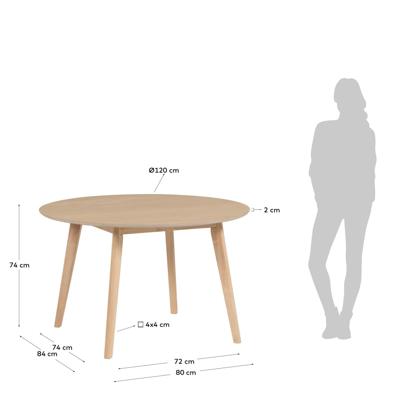 Mesa de jantar Matilde, madeira de seringueira, Ø120x74