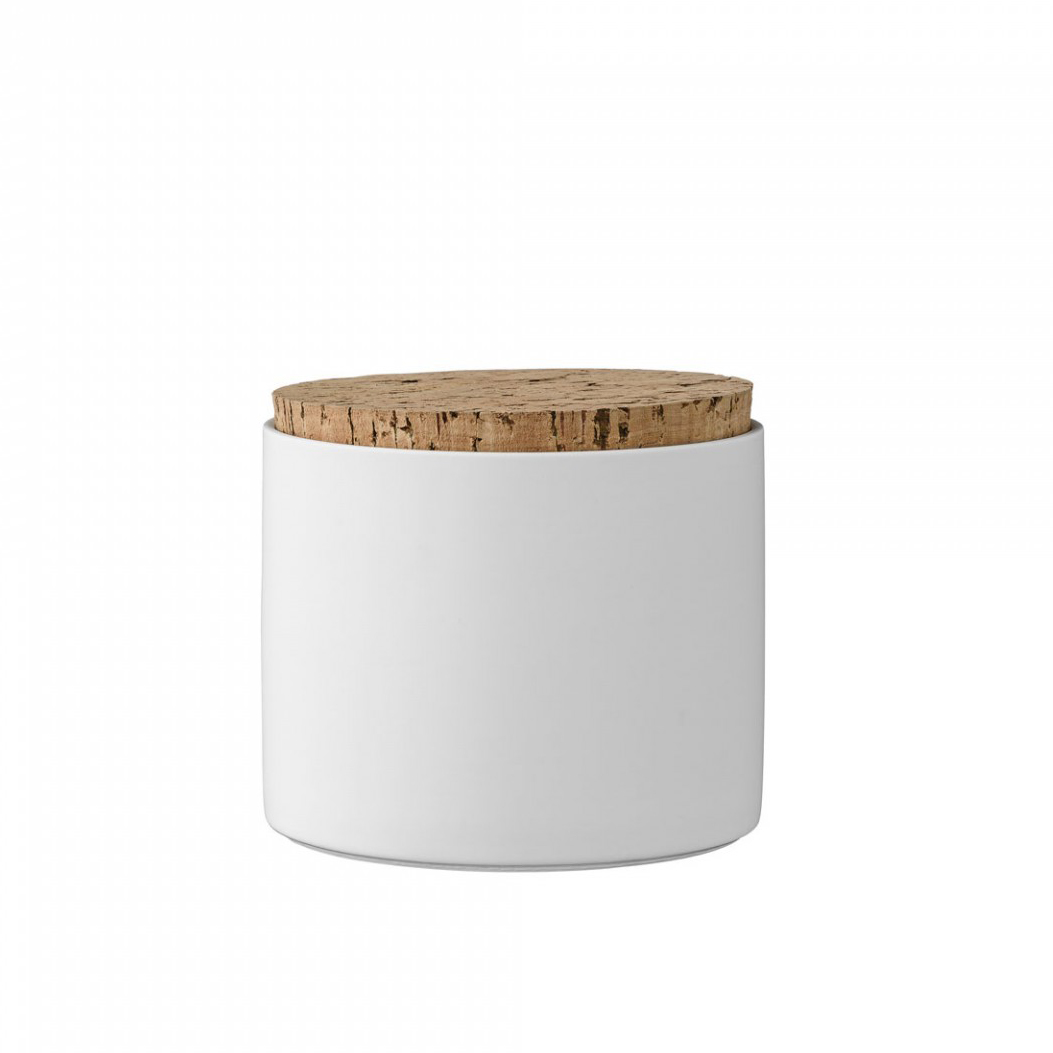 Pote em porcelana, tampa de cortiça, branco, Ø11x12