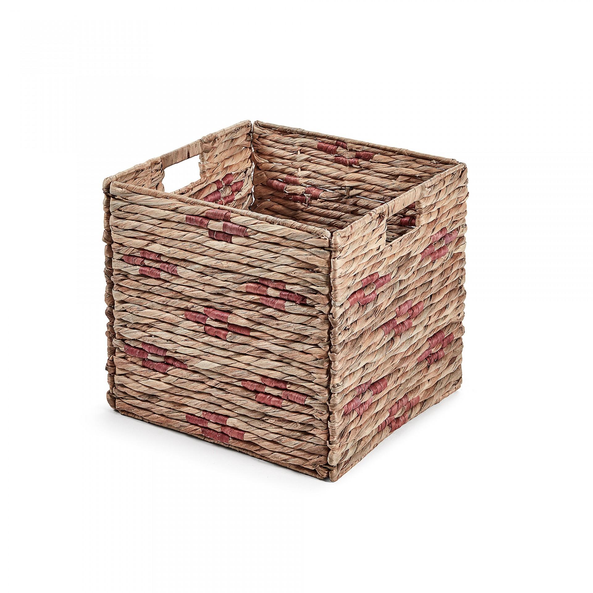 Caixa de arrumação Pool, vime/metal, preto/rosa, 35x32x32