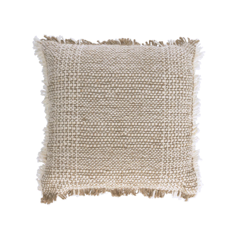 Capa de almofada Amil, c/franjas, bege, 45x45