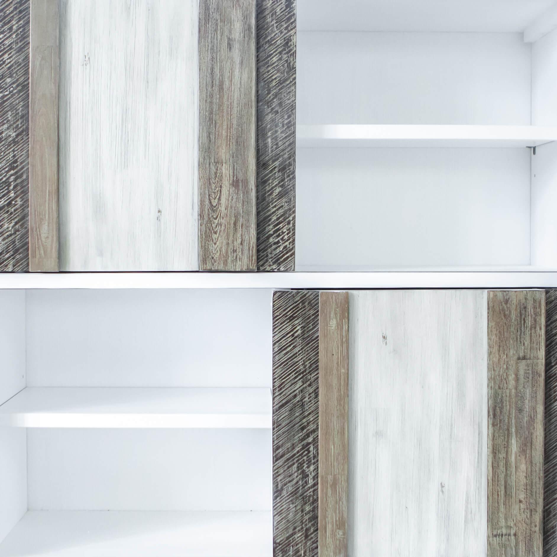 Estante Nice, MDF lacado/madeira de acácia, 140x110
