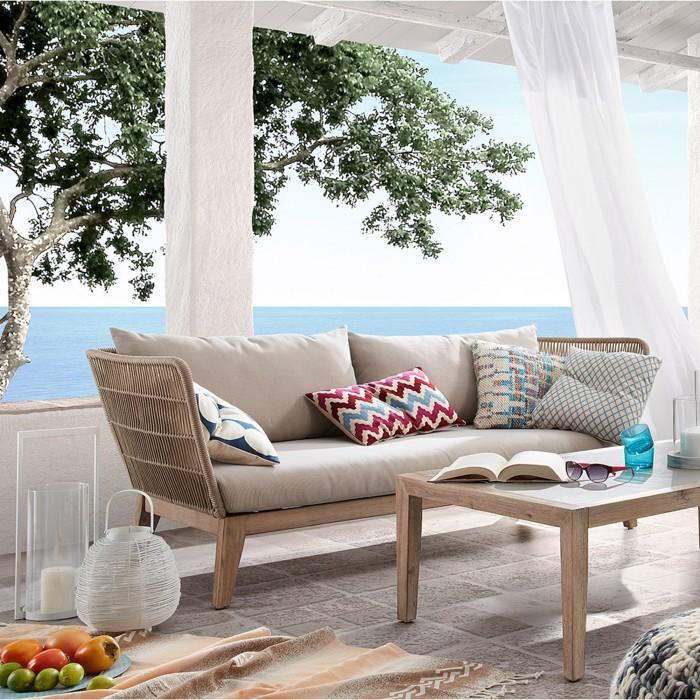 Sofá de jardim Bell, 3x lugares, c/almofadas, madeira de acácia/corda de poliéster
