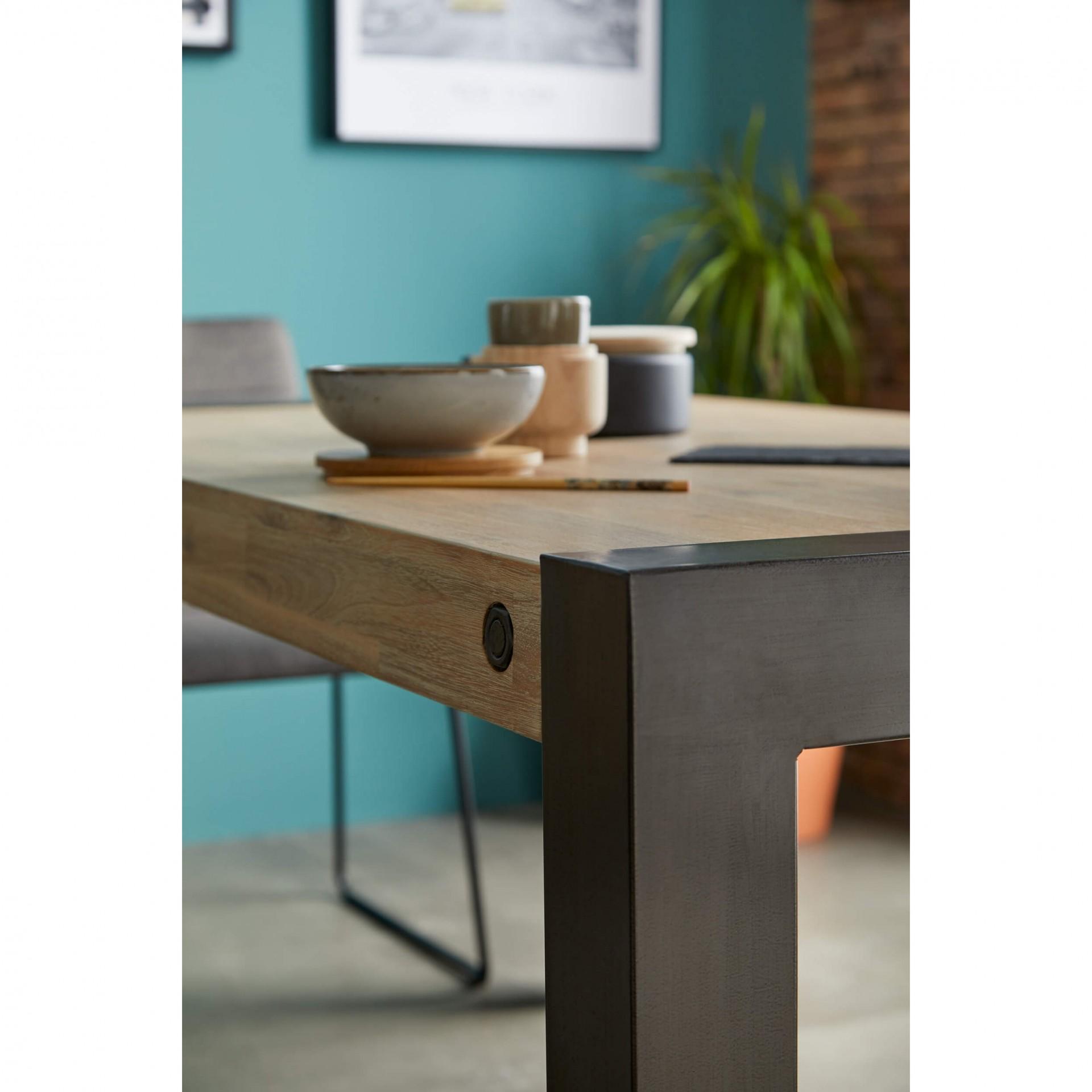 Mesa de jantar Boston, madeira de acácia/metal, 160x90