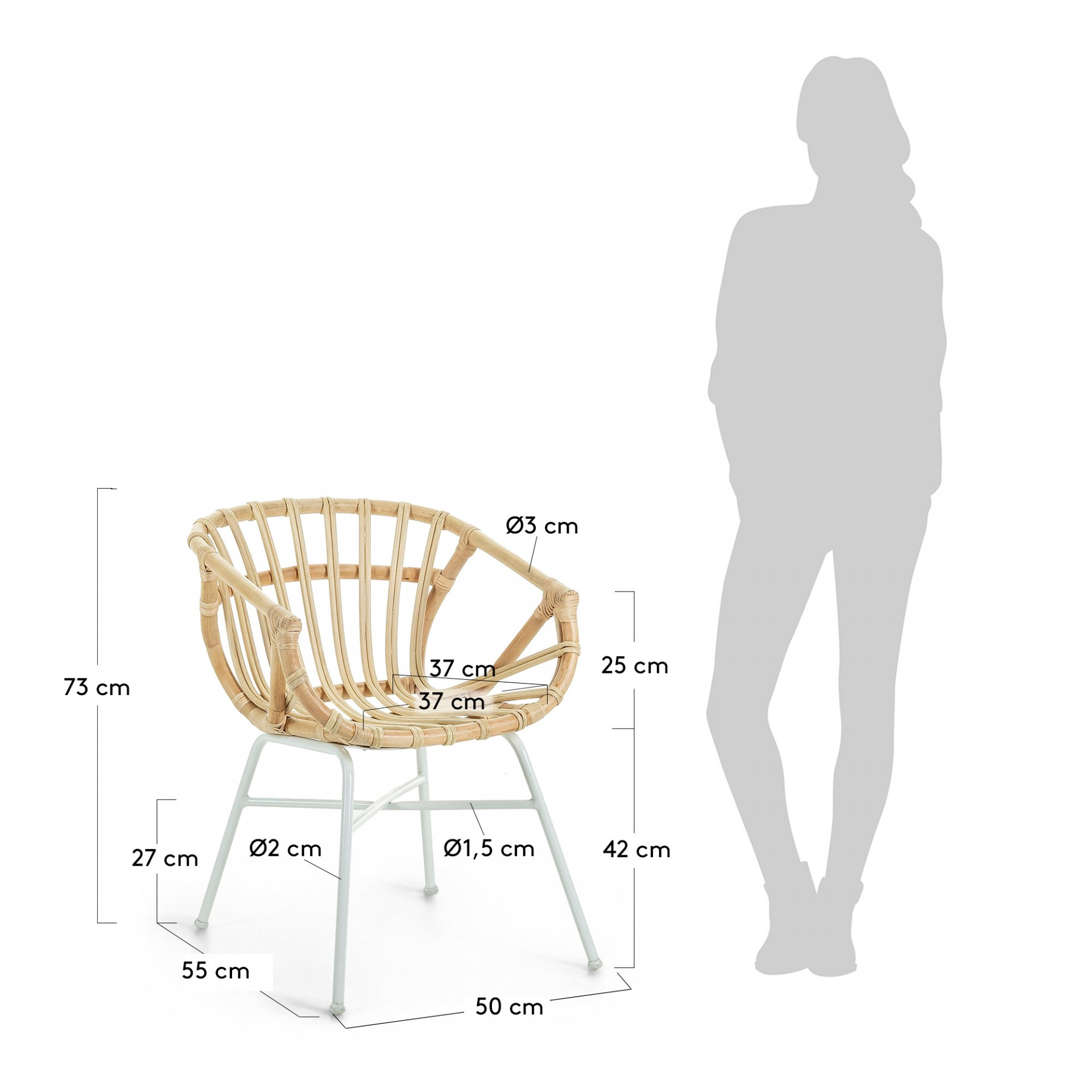 Cadeira Kely, c/braços, vime natural