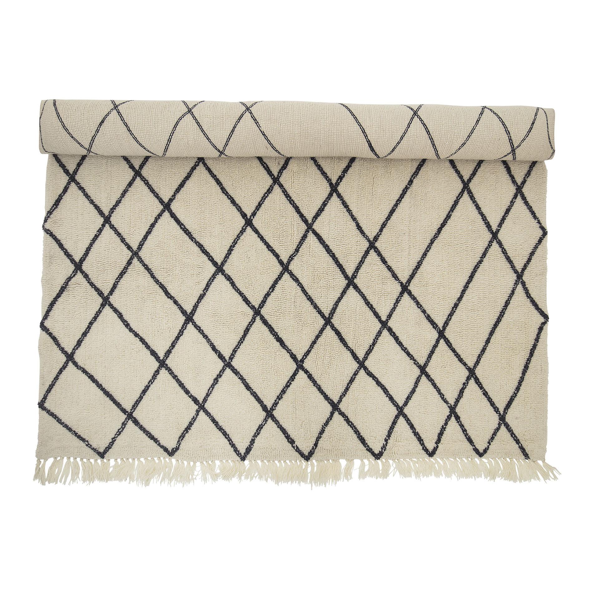 Tapete Berbere, lã natural, branco/preto, 300x200