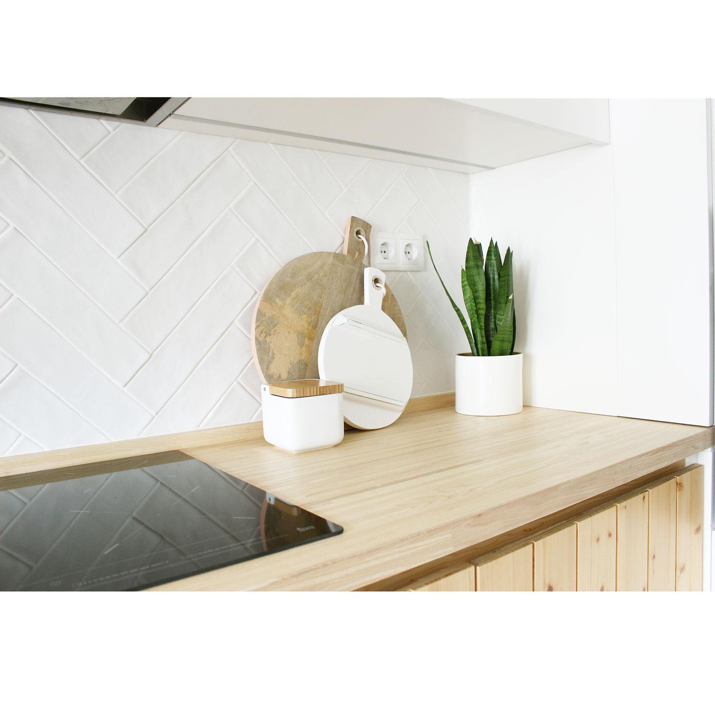 Tábua de cozinha em madeira manga, branco, Ø25cm
