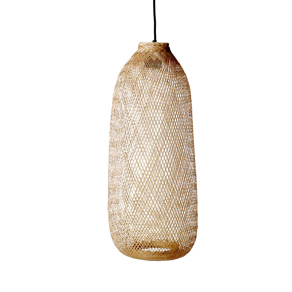 Candeeiro de tecto Nordi, bambu natural, Ø25x65