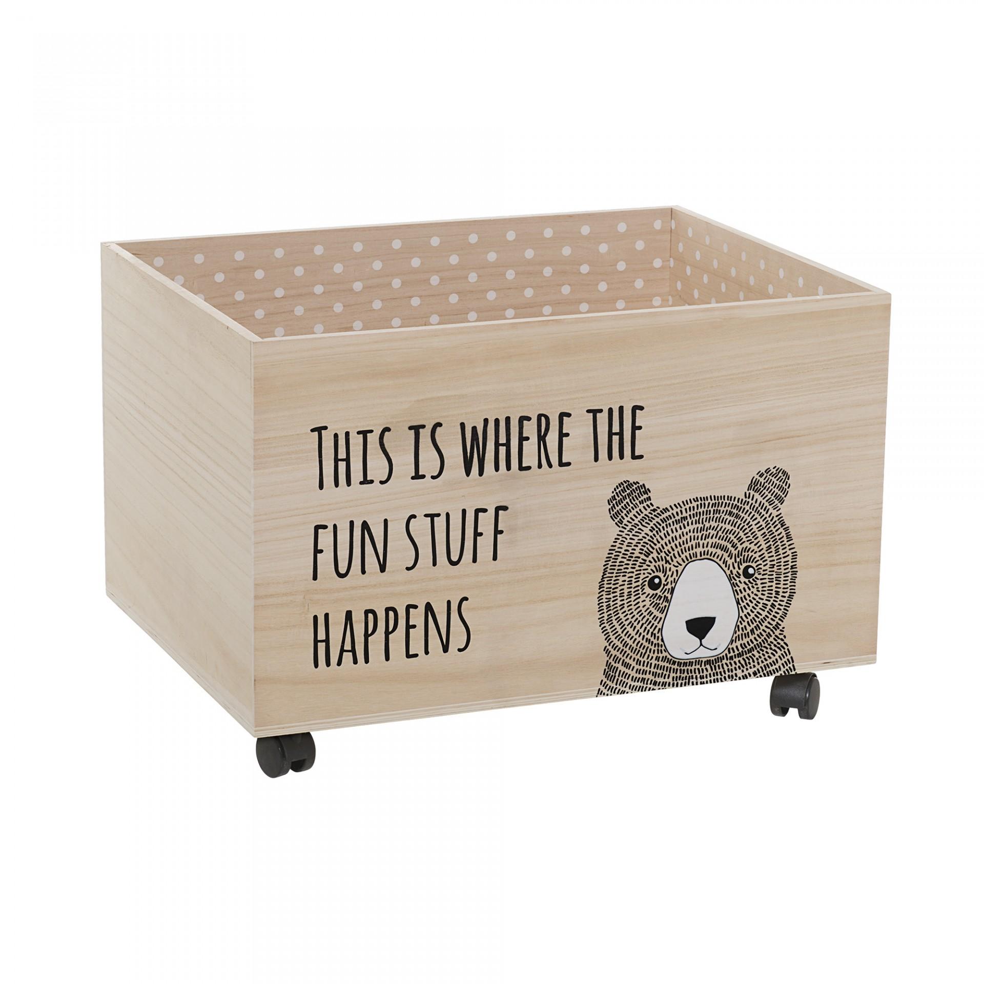 Caixa de arrumação com rodas, madeira Paulownia, 60x45x40
