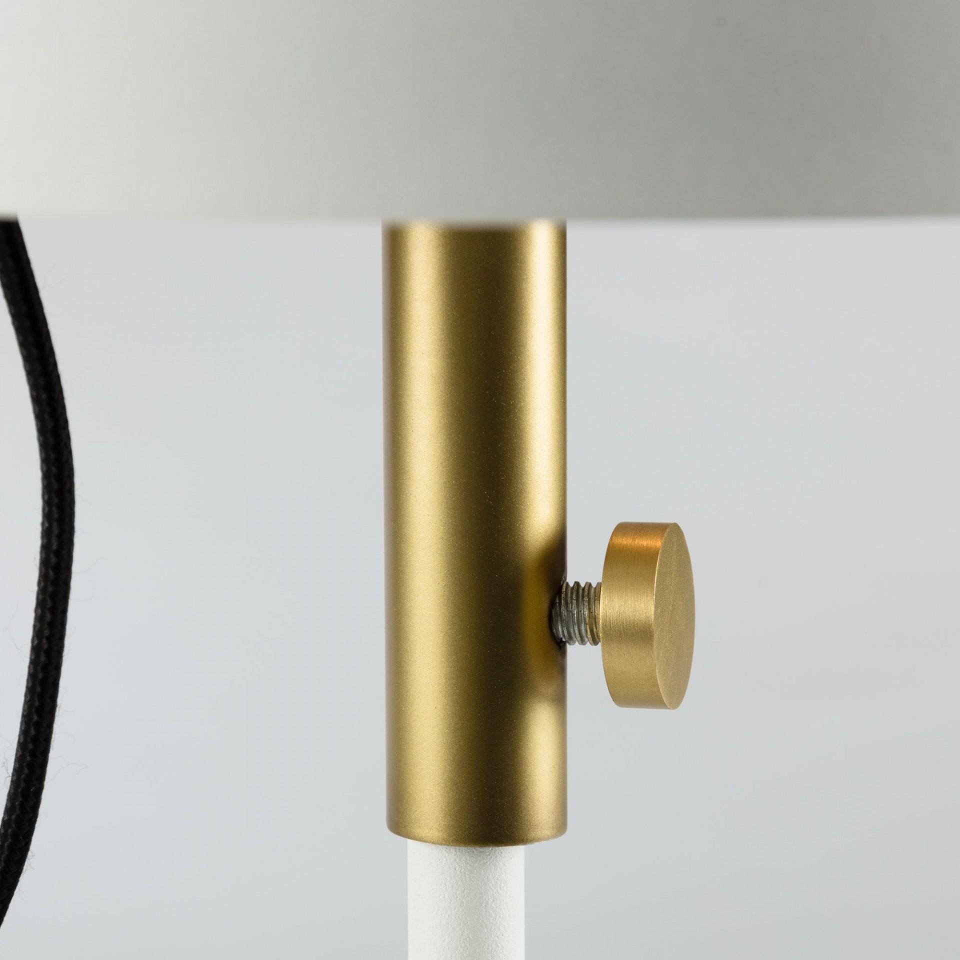 Candeeiro de pé Sina, metal, branco/dourado