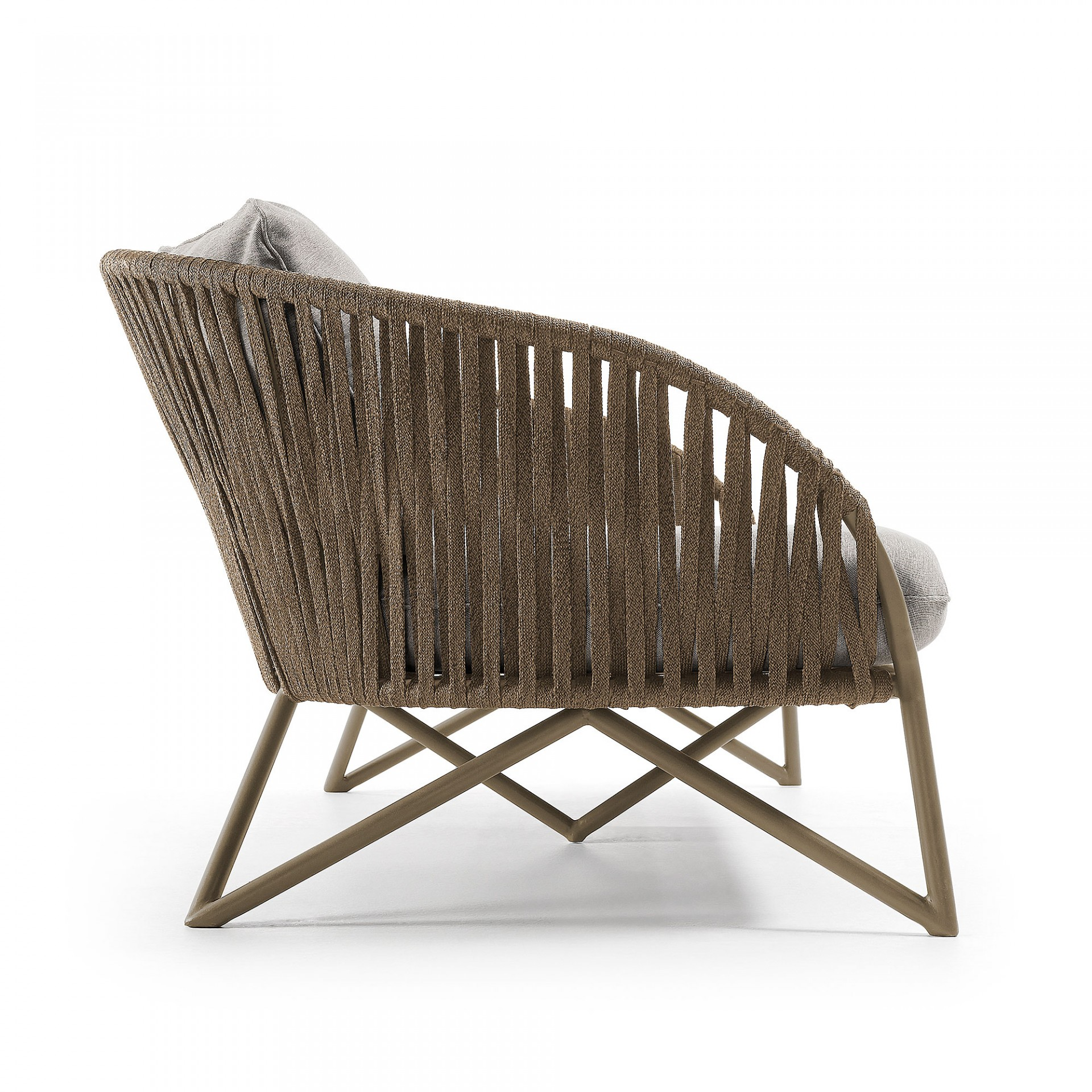 Sofá de jardim Brazi, 3x lugares, c/almofadas, corda de poliéster/metal