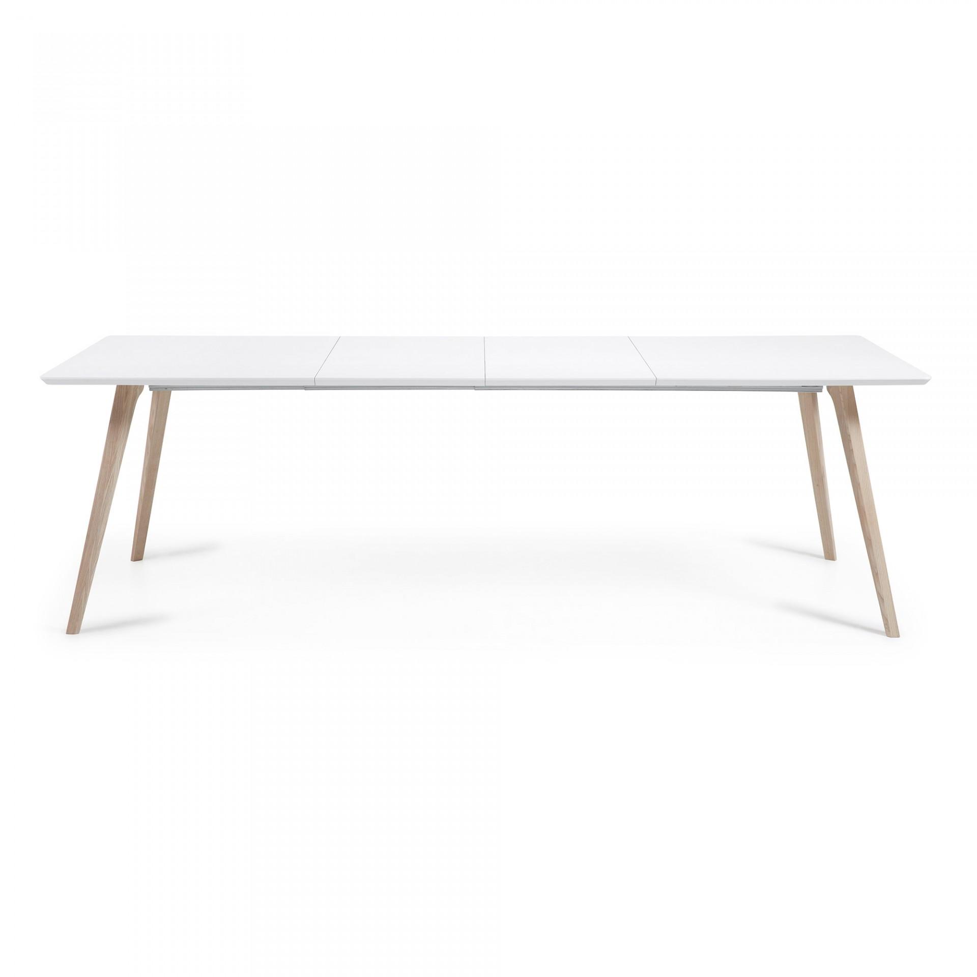 Mesa extensível Emmi, madeira de freixo/MDF lacado