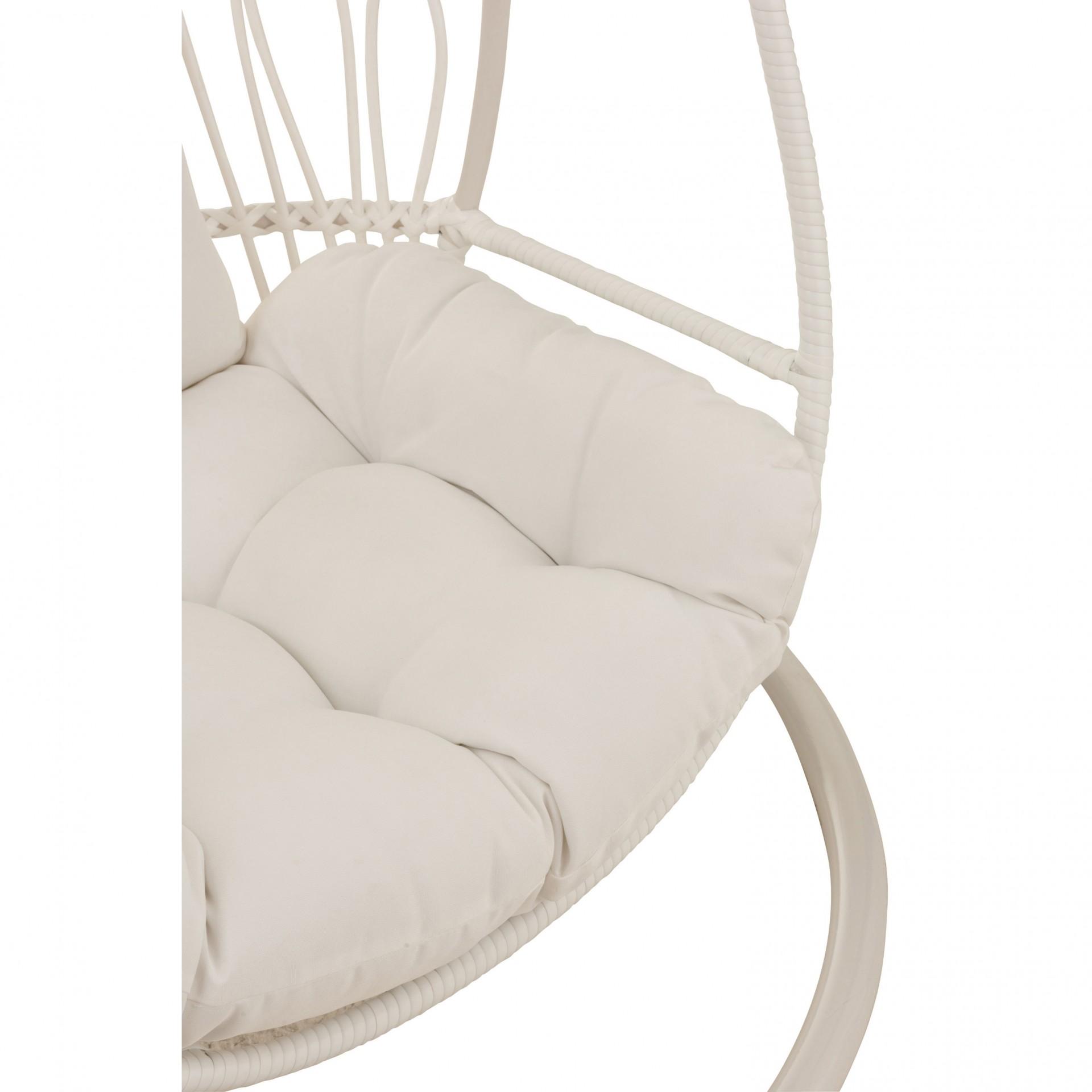 Cadeira suspensa infantil, metal/vime, branco, 103x93x155