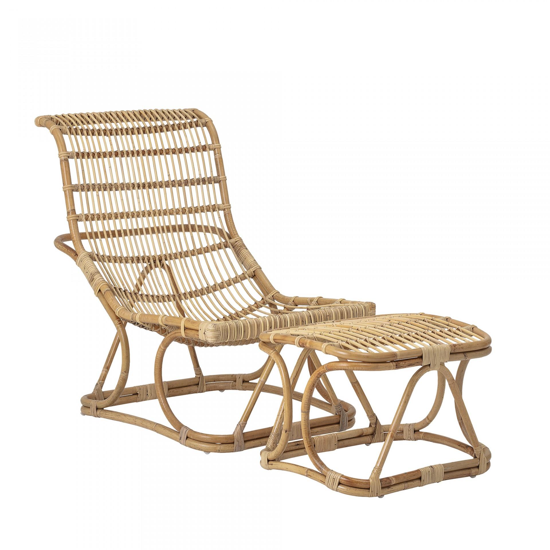 Cadeira Eloise, c/repousa-pés, bambu/rattan natural