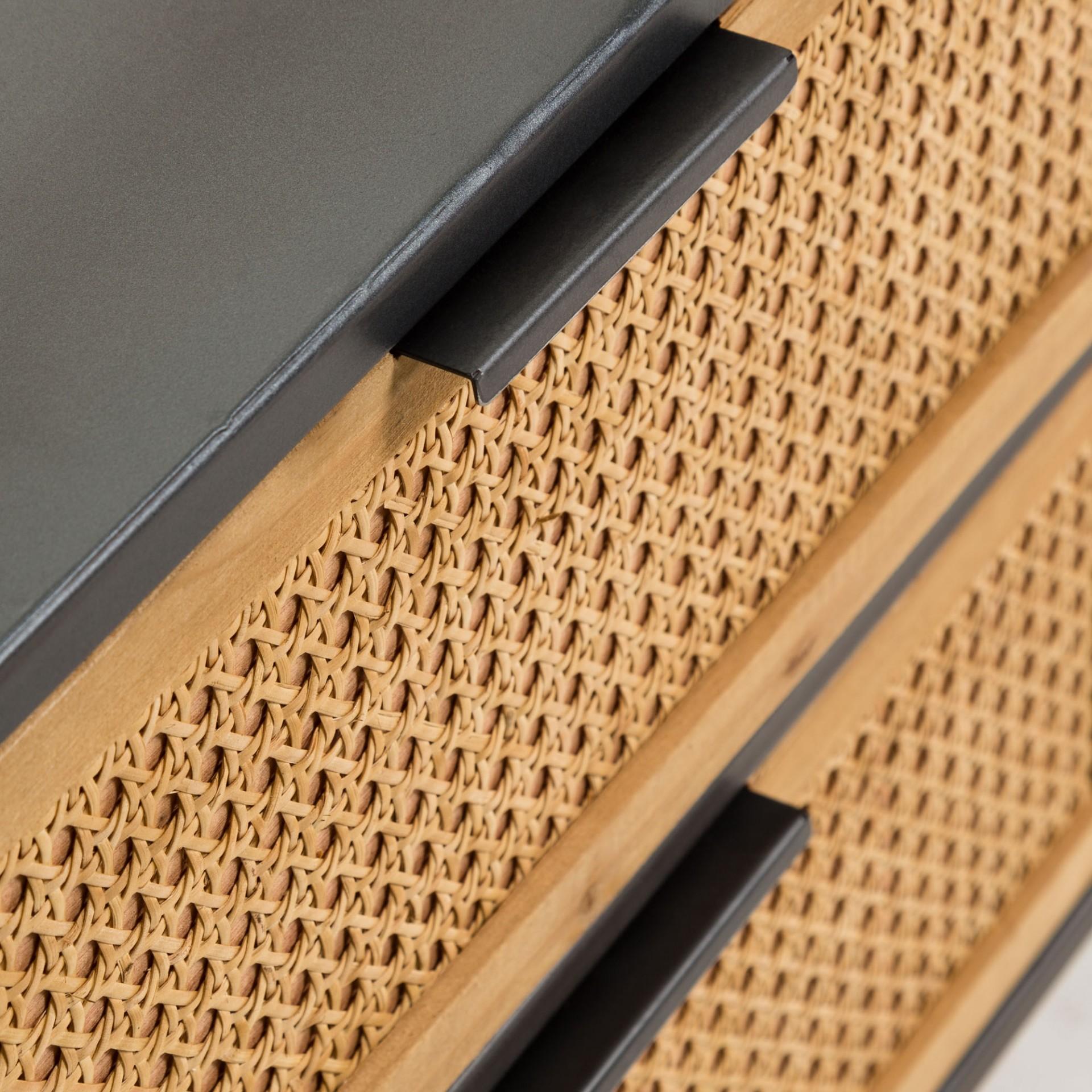 Mesa de cabeceira Tokyo, madeira faia/vime/metal, 50x51