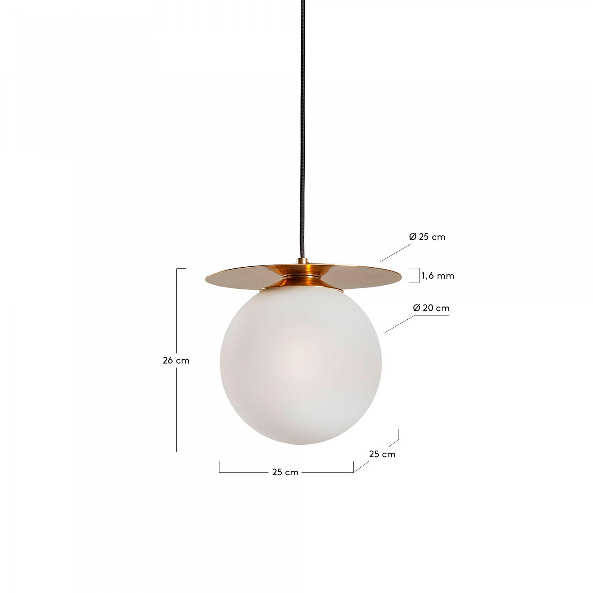 Candeeiro de tecto Main, vidro opaco/metal, Ø20x26