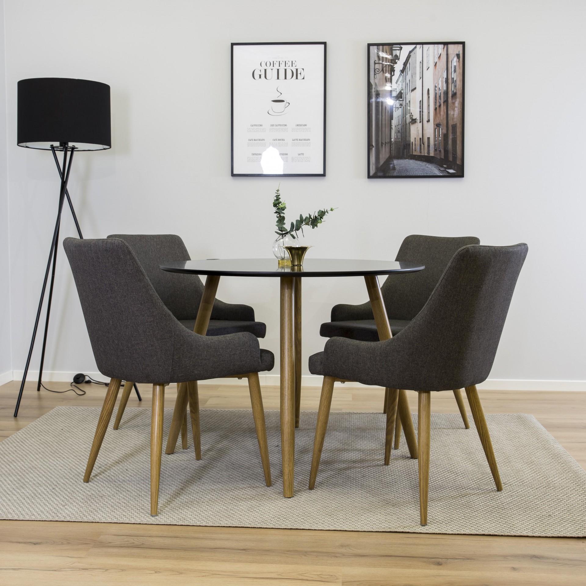 Mesa de jantar Plaza, MDF/metal, preto, Ø100x75