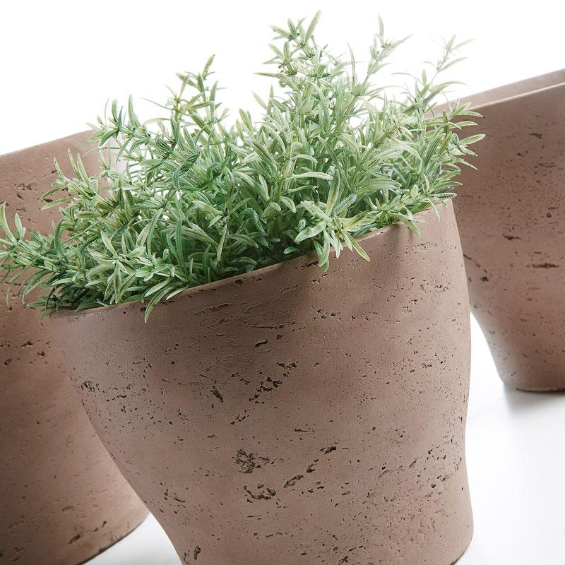 Vasos Brow, poli-cimento, marron, (Conj.3)