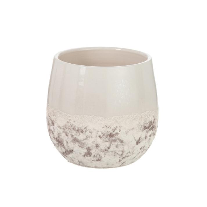 Vaso Ocean, cerâmica, branco/marron, Ø23X23