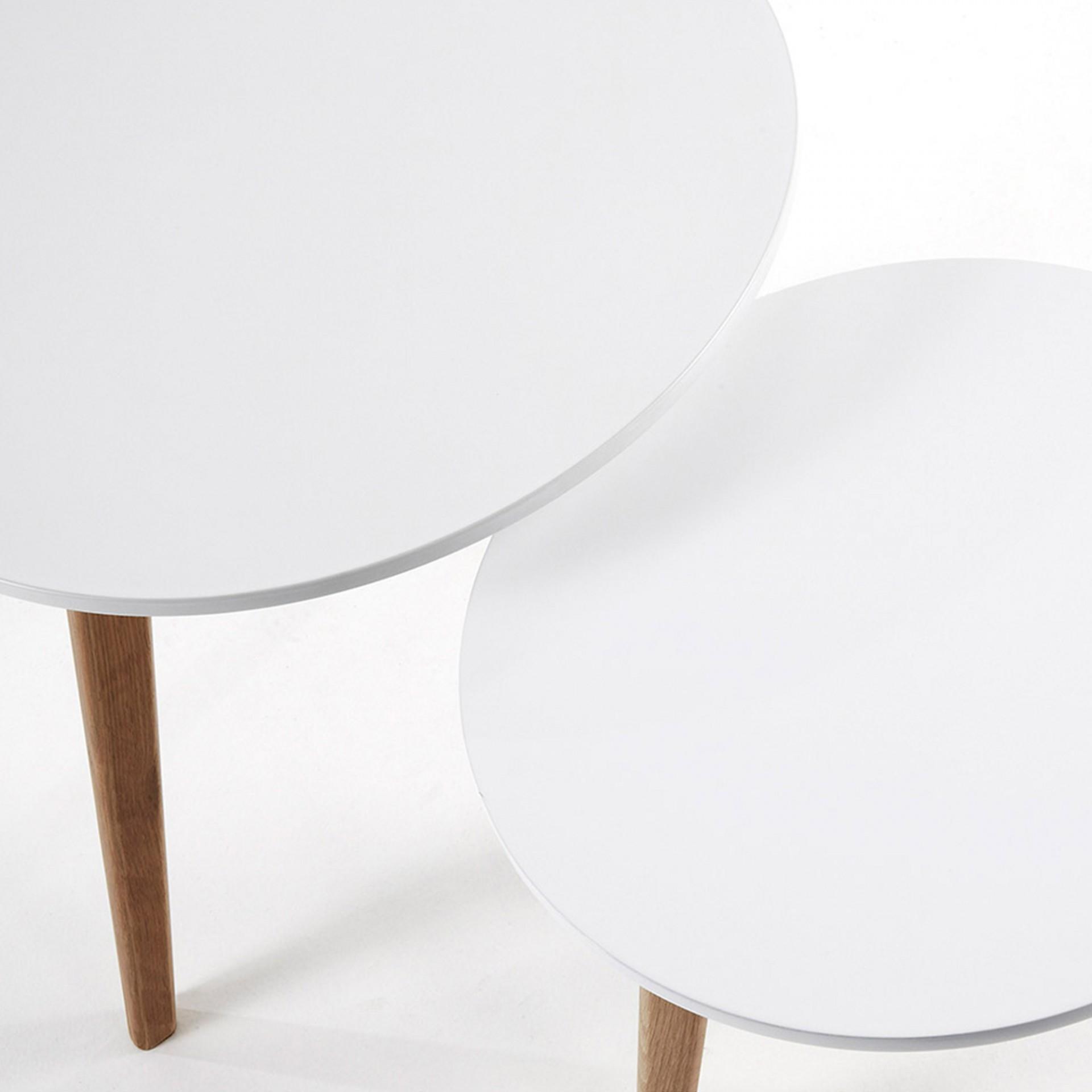 Mesas de apoio Kirk, madeira de carvalho/MDF lacado, (Conj.2)