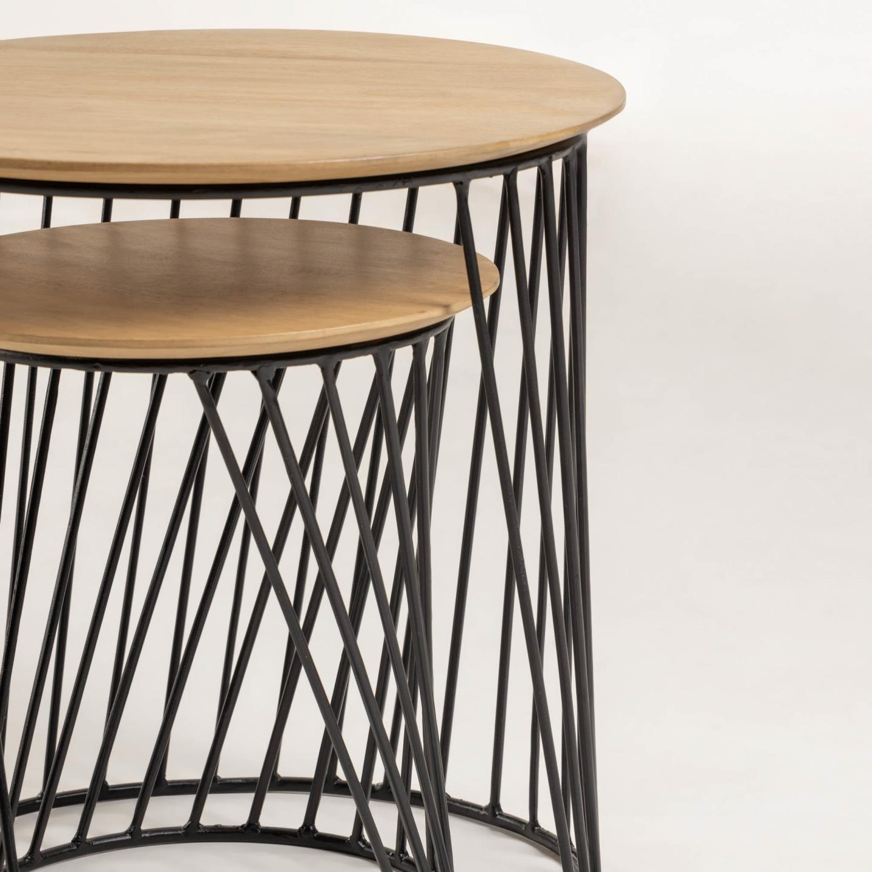 Mesas de apoio Lekka, madeira manga/metal, (Conj.2)