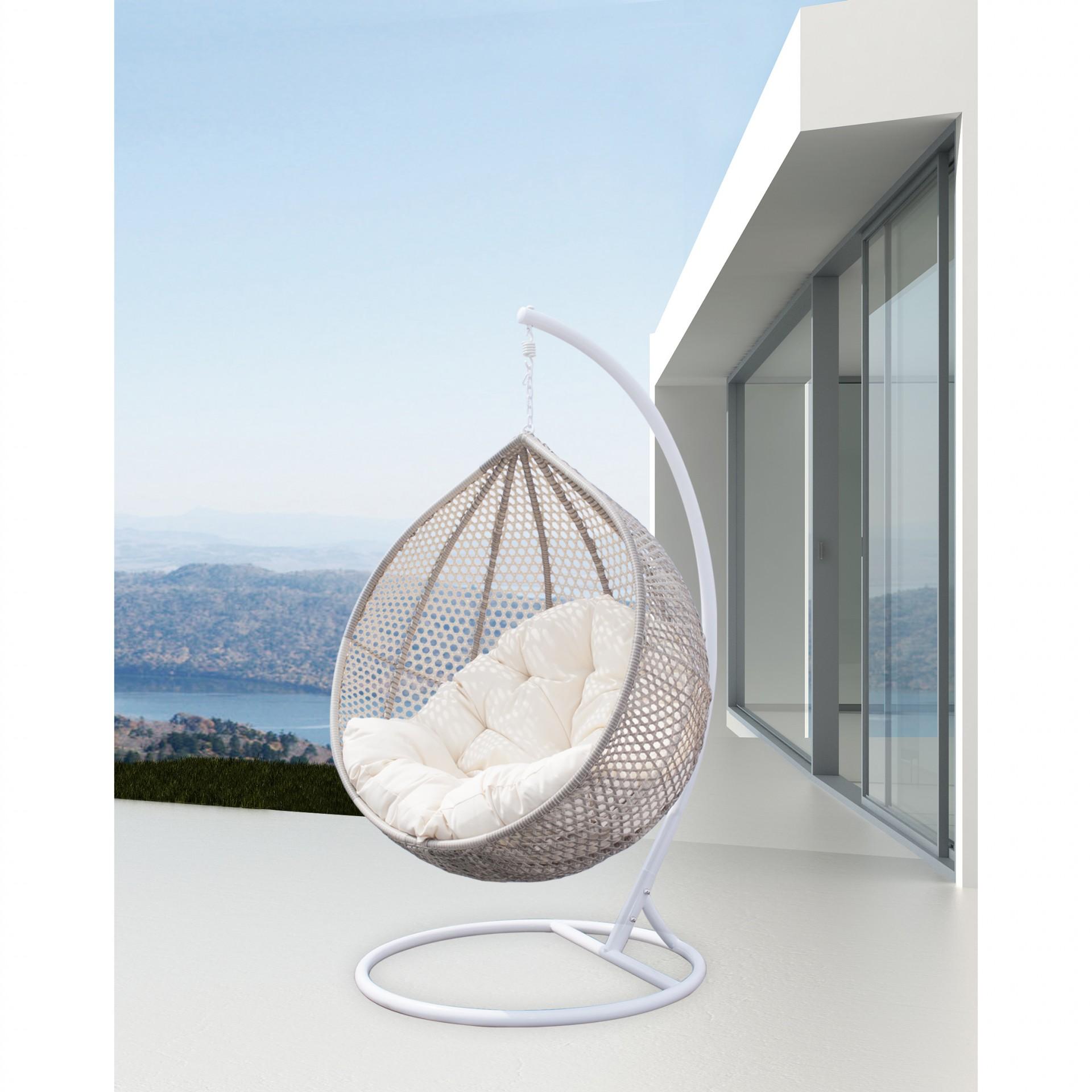 Cadeira suspensa Fobos, c/coxim, alumínio/rattan sintético, Ø113x195