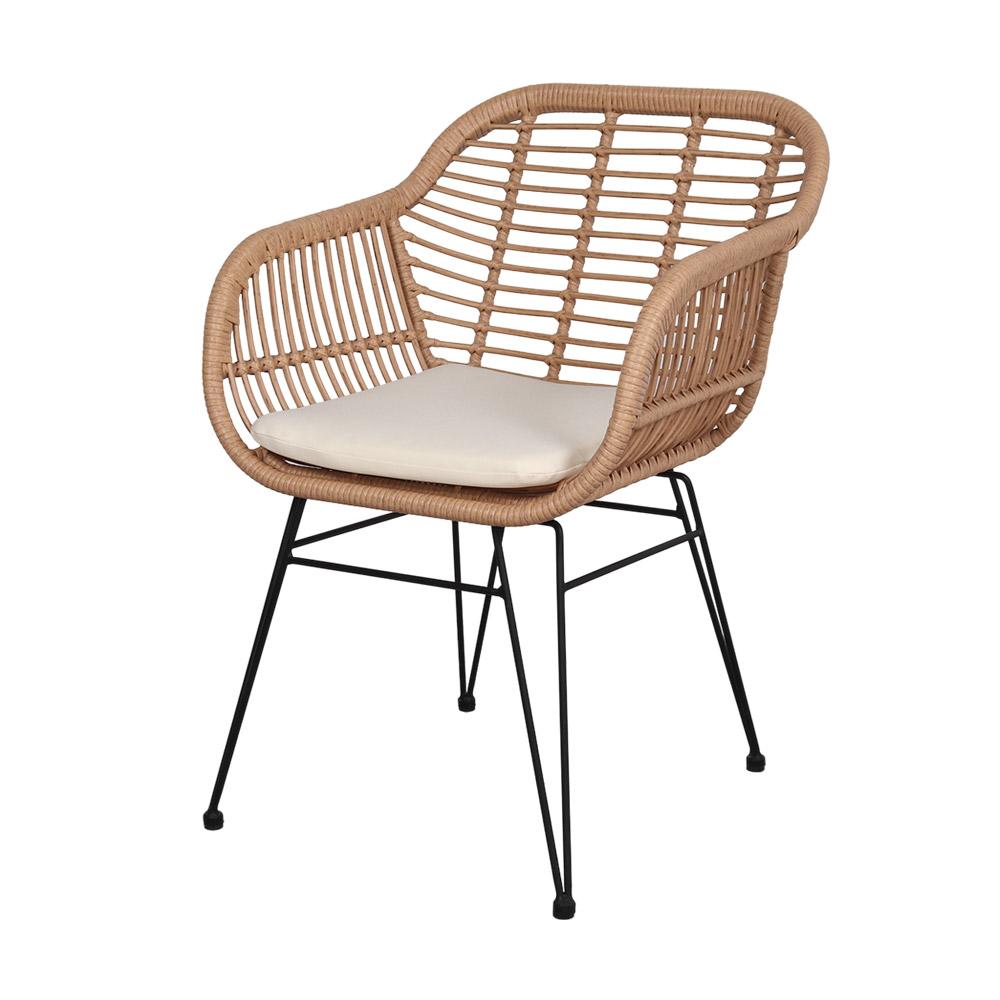 Cadeira Brand, c/almofada, vime sintético/metal