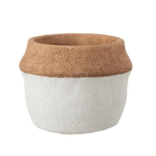 Vaso Jane, concreto, branco, Ø21X17