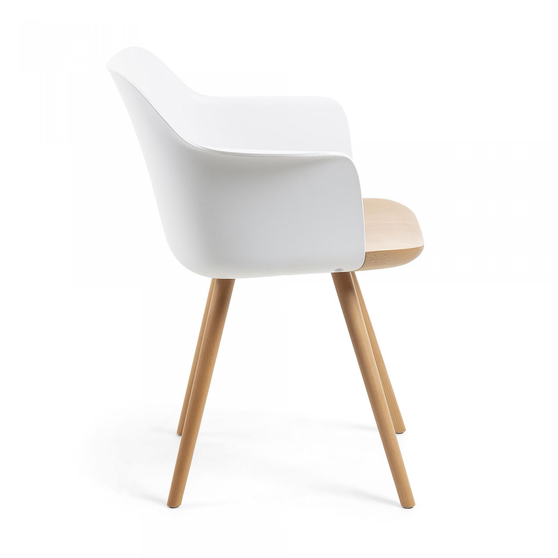 Cadeira Byon, c/braços, madeira faia/polipropileno, 43x43x76