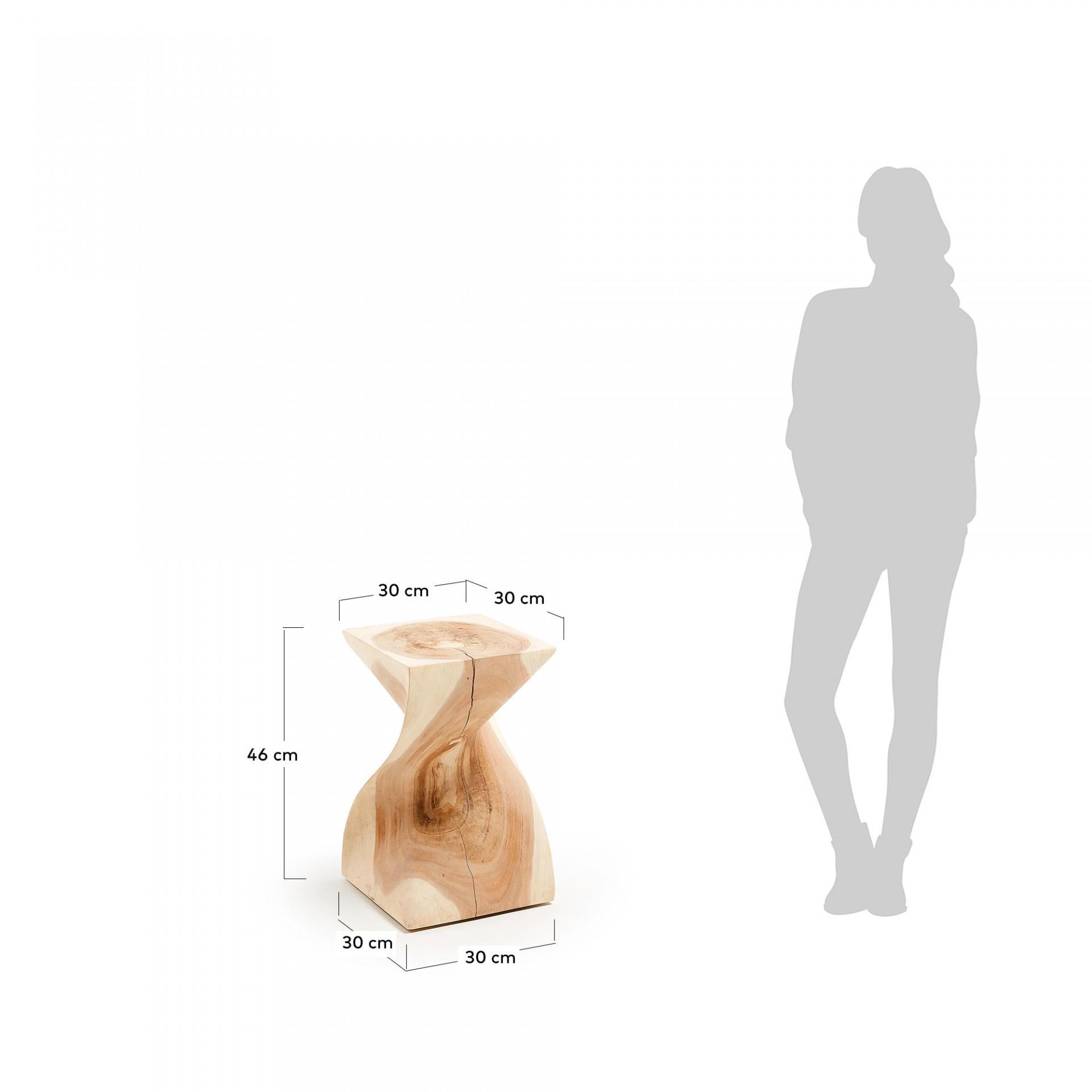 Mesa de apoio Akon, madeira de munggur natural, 30x30x46