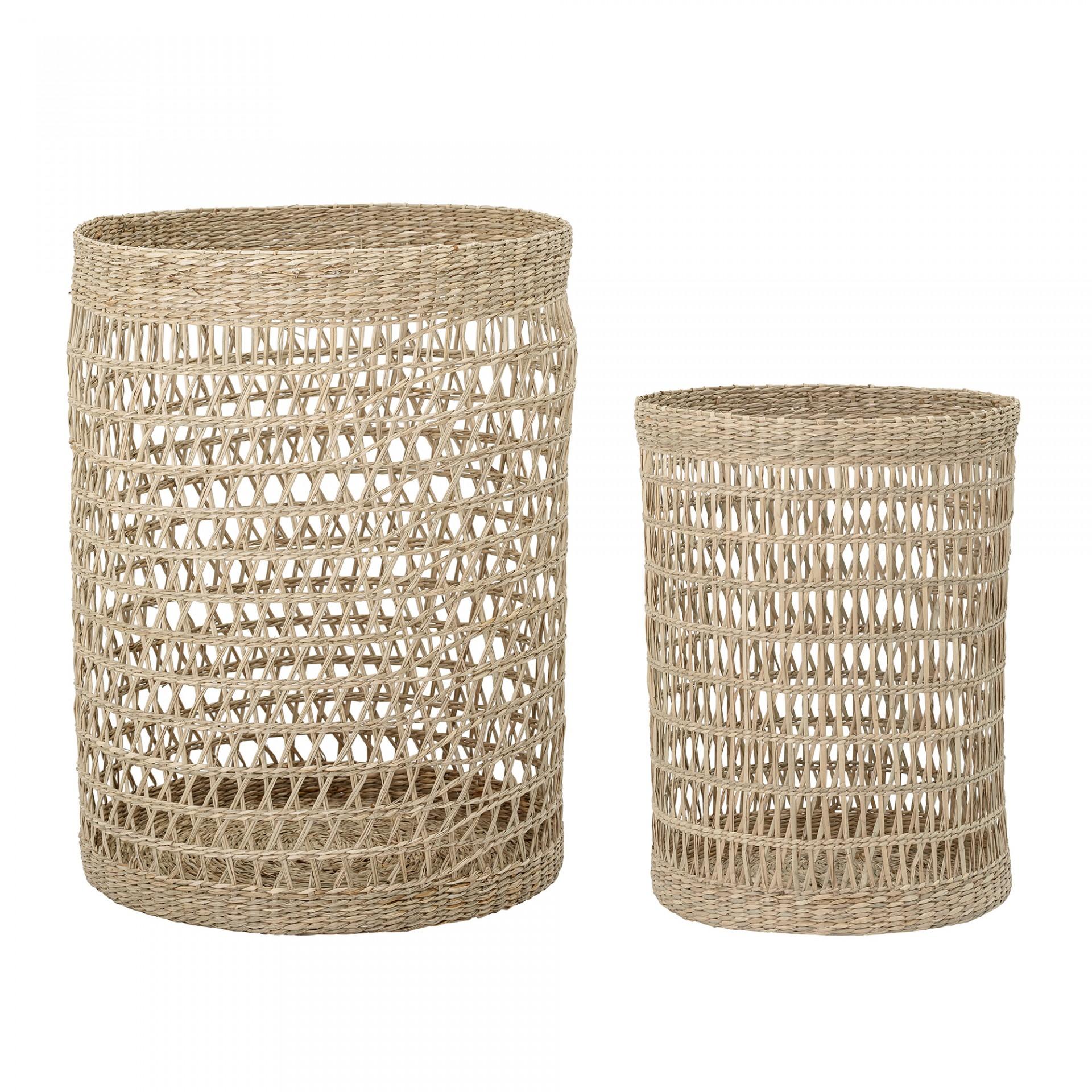 Cestos de roupa c/tampa, seagrass, (Conj.2)