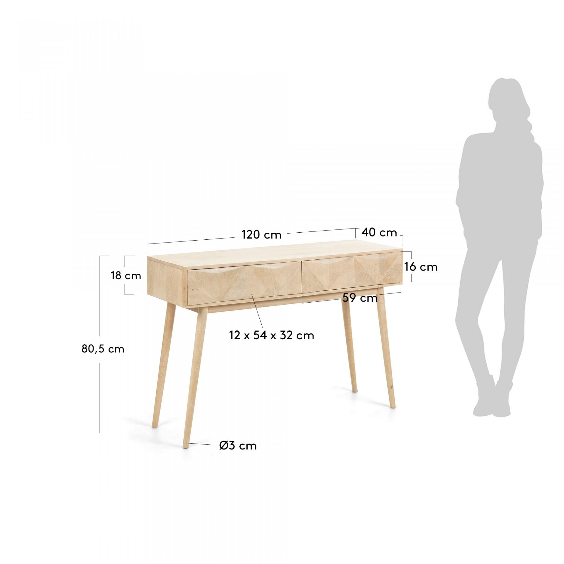 Consola Sara, madeira de manga natural, 120x80
