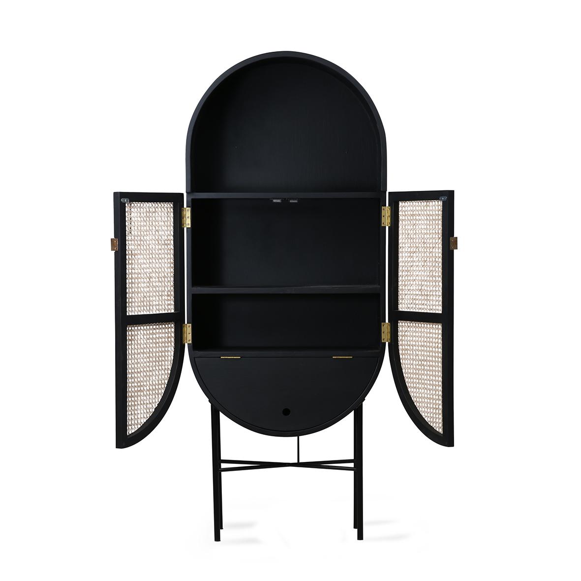 Armário Retro oval, madeira de manga/rattan, preto, 65x160