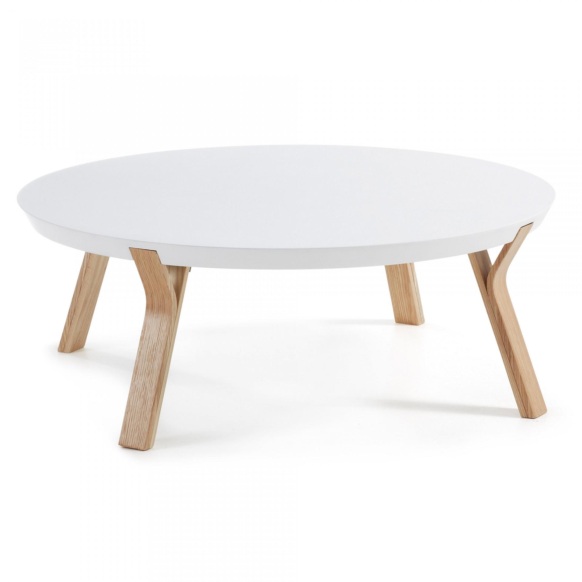 Mesa de centro Dila, madeira de freixo/MDF lacado, Ø90x32