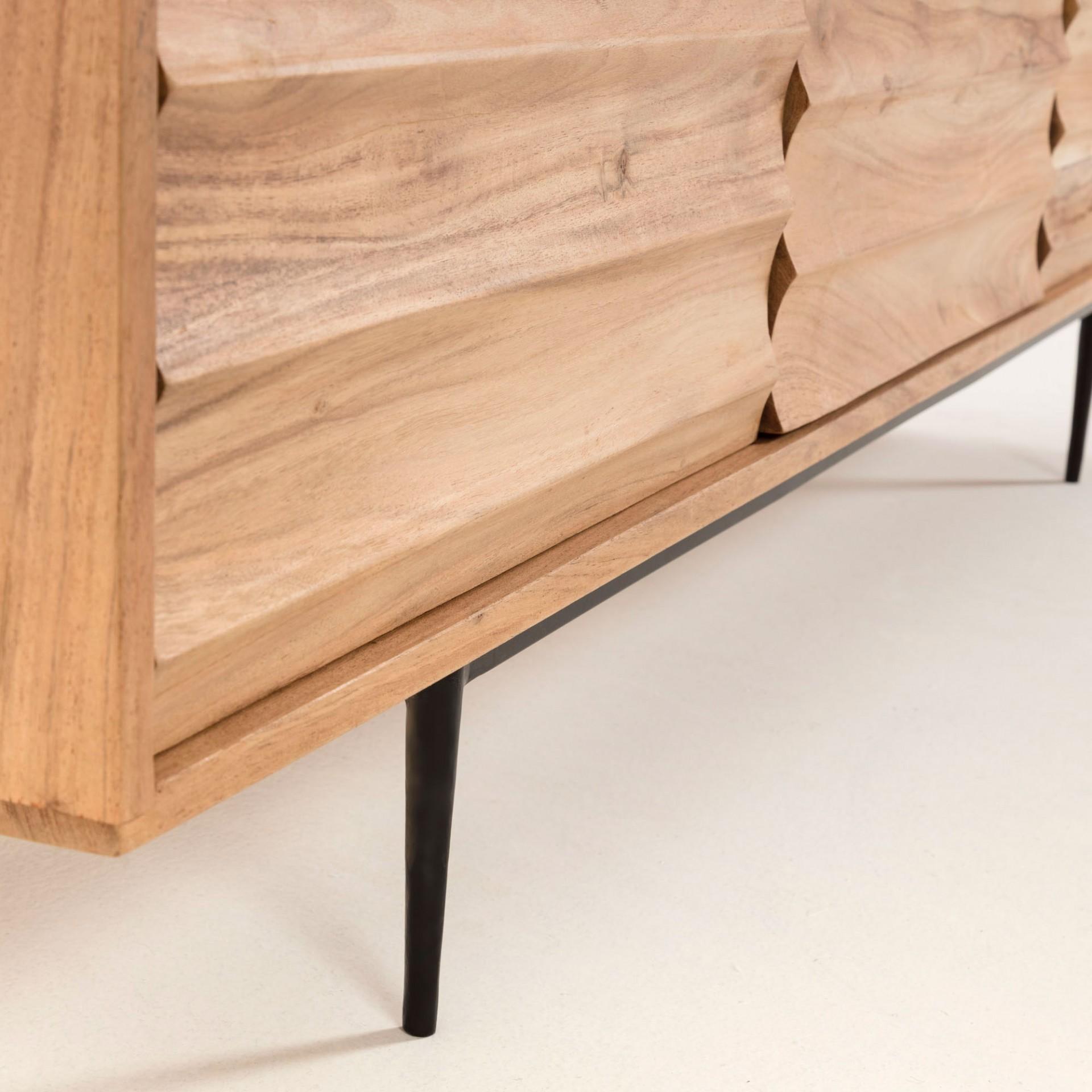Móvel TV Delie, madeira de acácia natural, 147x50