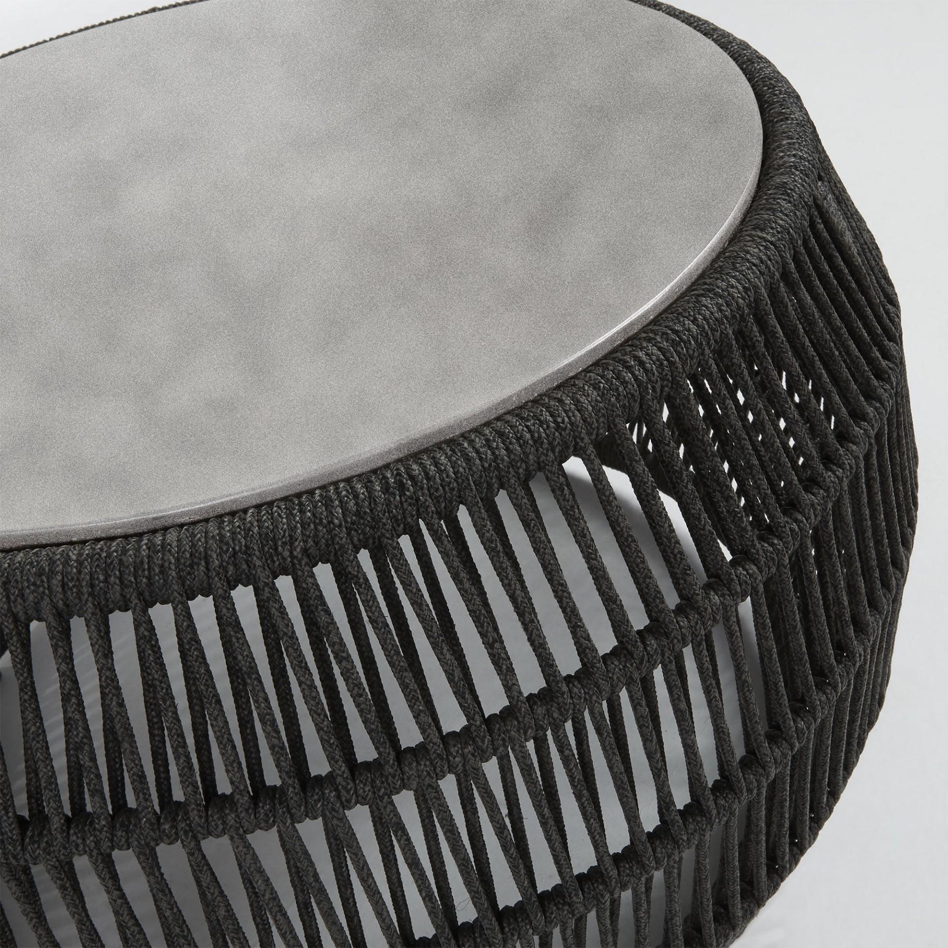 Mesa de apoio Gard, poli-cimento/corda de poliéster, Ø70x40