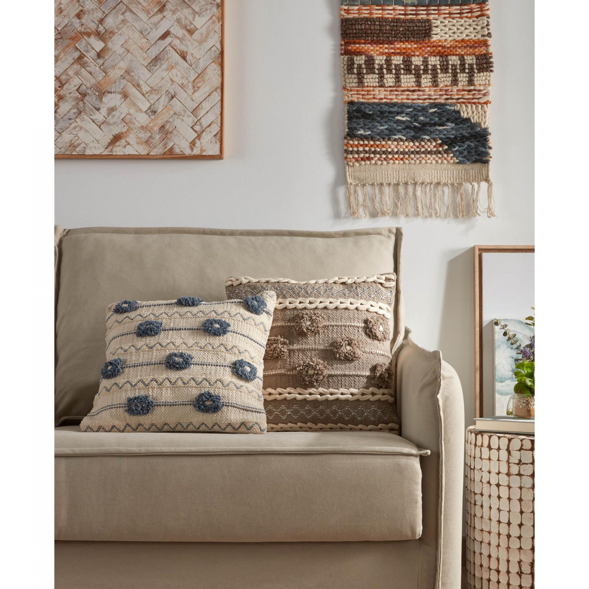 Capa de almofada Leand, marron/branco, 45x45