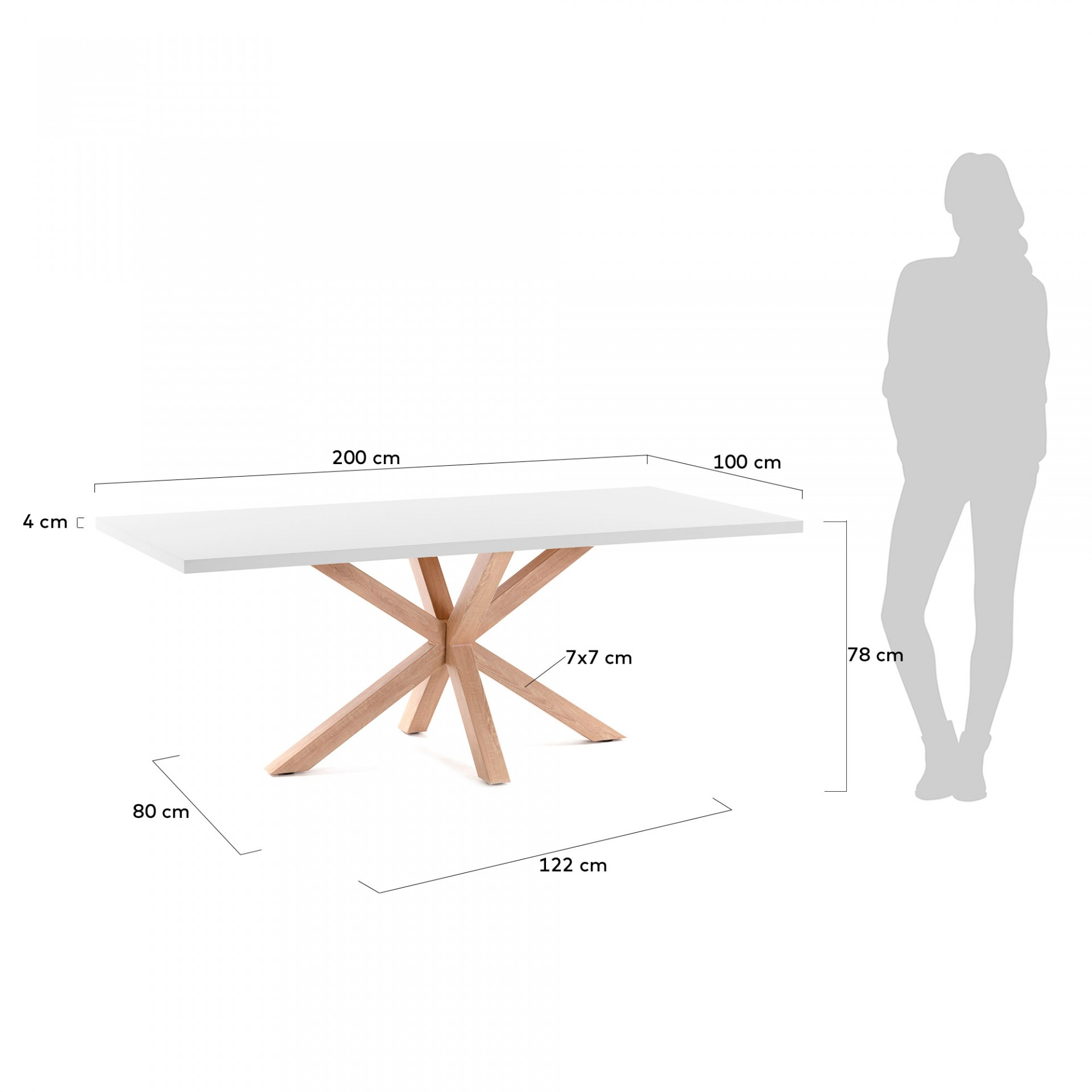 Mesa de jantar Arge, melamina/metal, branco