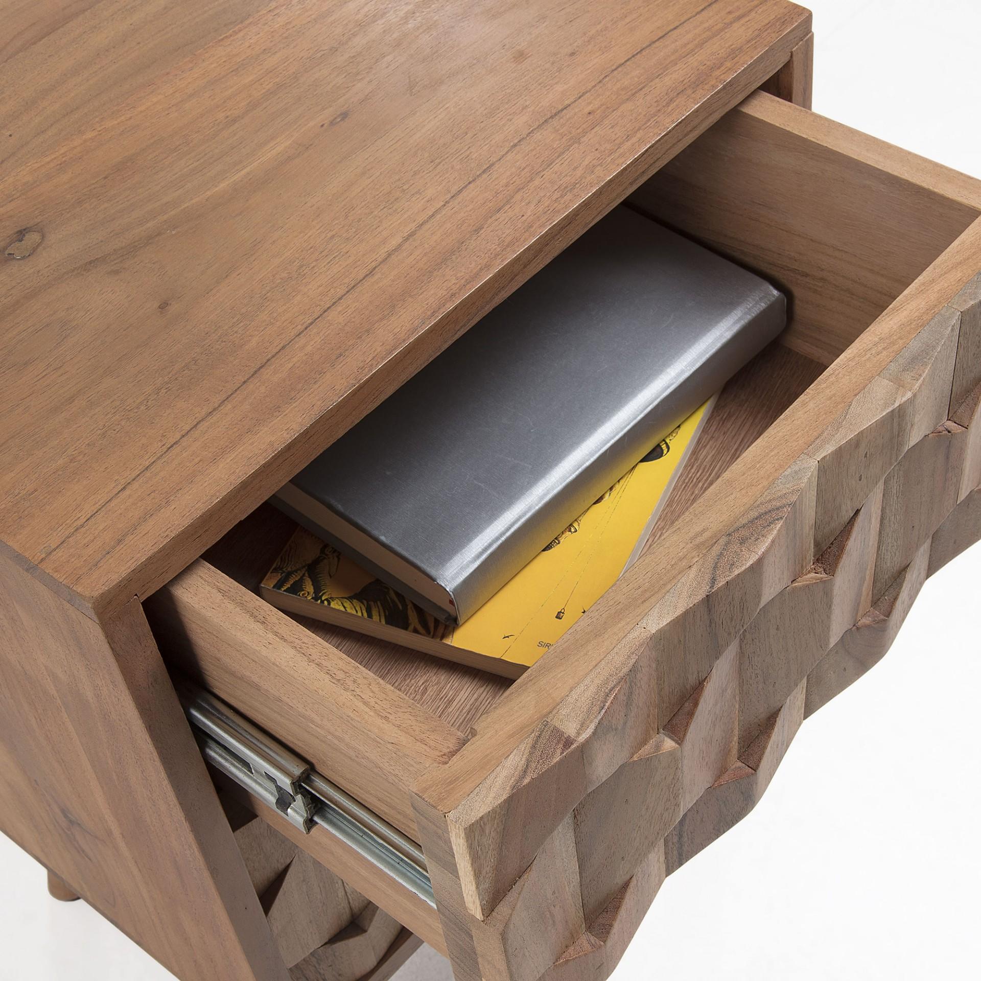 Mesa de cabeceira Khali, madeira de acácia natural, 40x55
