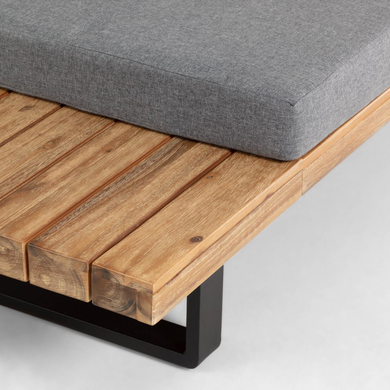 Conjunto Zalita, sofá de canto 5x lugares + mesa, madeira de acácia
