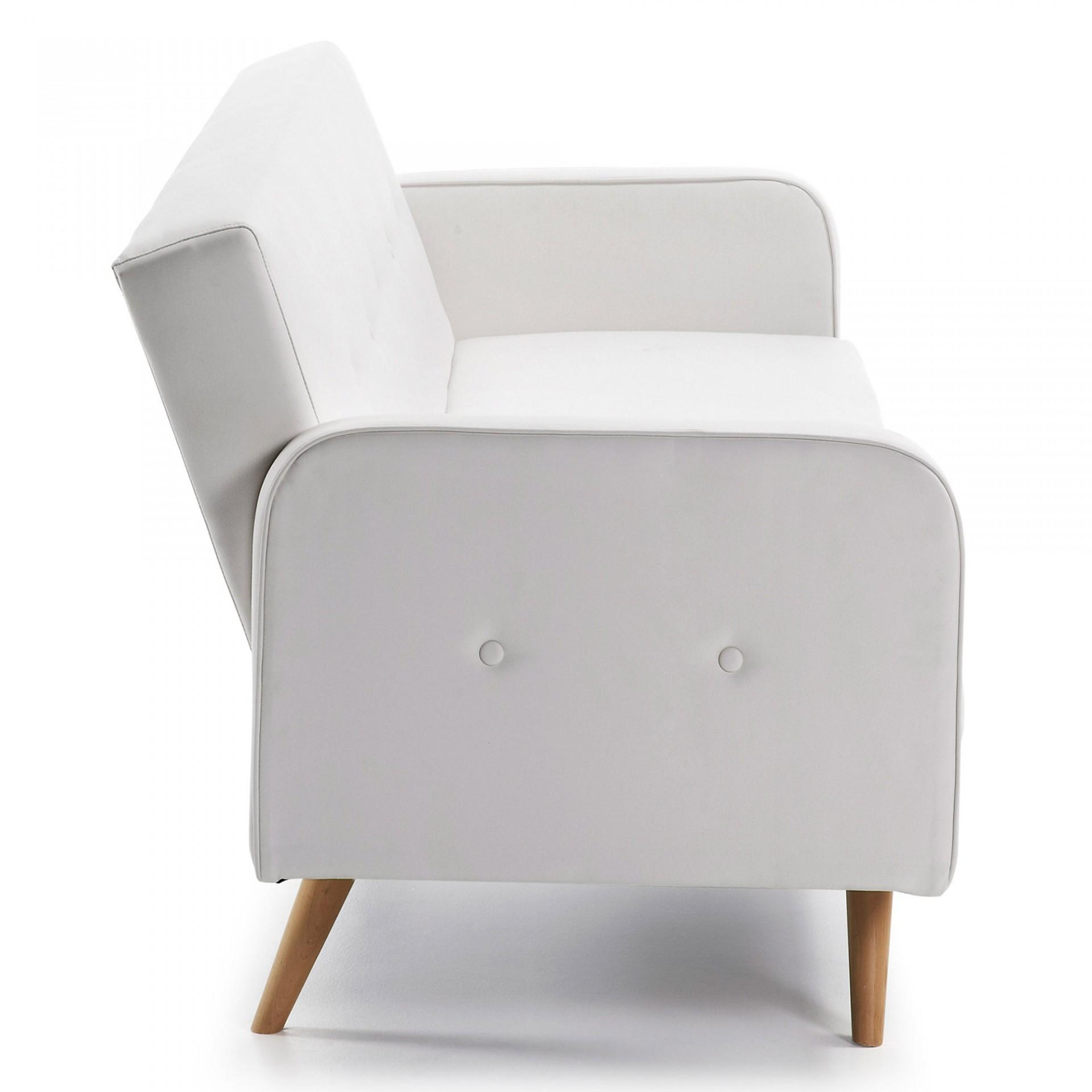 Sofá-cama Rogui, 3x lugares, pele sintética, branco